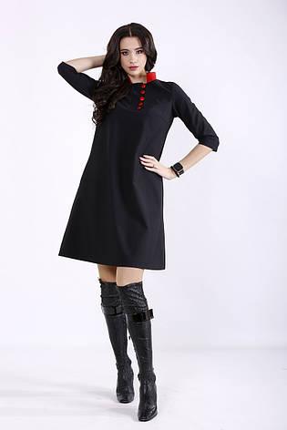 Черное платье с карманами для офиса большое, фото 2