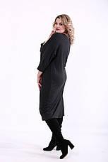 Платье на каждый день для полных женщин темно-серое, фото 2