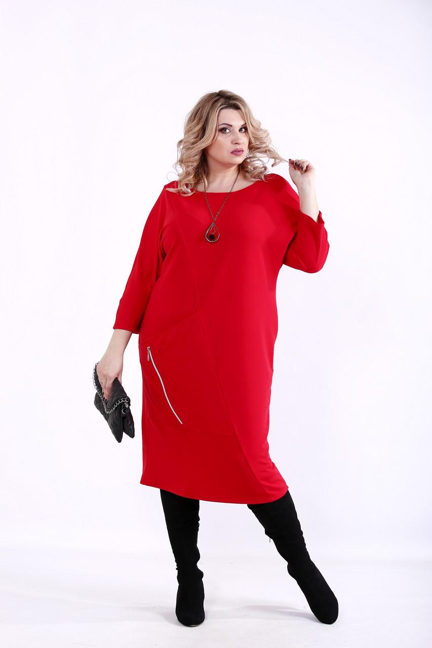 Красное повседневное платье большие размеры