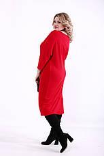 Красное повседневное платье большие размеры, фото 2