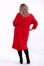Красное повседневное платье большие размеры, фото 3