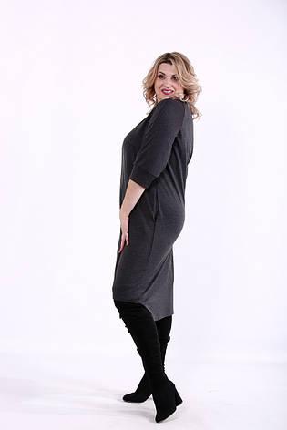 Серое платье большие размеры асимметричное, фото 2