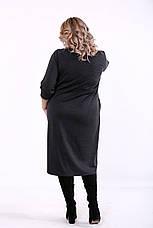 Серое платье большие размеры асимметричное, фото 3