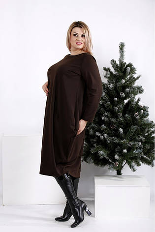 Коричневое свободное платье для полных женщин, фото 2