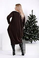 Коричневое свободное платье для полных женщин, фото 3
