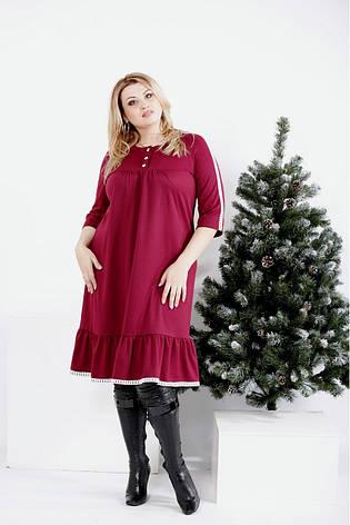 Бордове вільне плаття великих розмірів, фото 2