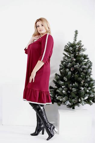Бордовое свободное платье больших размеров, фото 2
