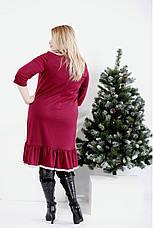 Бордове вільне плаття великих розмірів, фото 3
