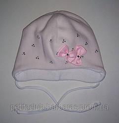 Дитяча зимова шапка Бантики ніжно-рожева для дівчинки (AJS, Польща)