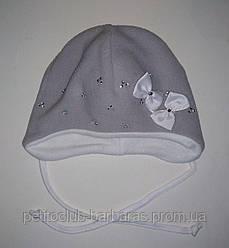 Дитяча зимова шапка Бантики сіра для дівчинки (AJS, Польща)
