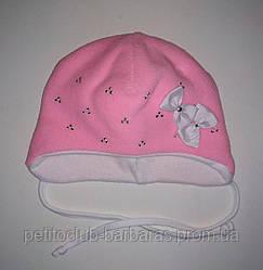 Дитяча зимова шапка Бантики рожева для дівчинки (AJS, Польща)