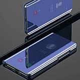 Комплект стекло на дисплей + Зеркальный Smart чехол-книжка Mirror для Xiaomi Redmi Note 8 /, фото 3