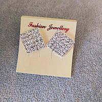 Серьги женские белые стразы светлый металл свадебные вечерние гвоздики (пусеты ) квадрат 18х25мм