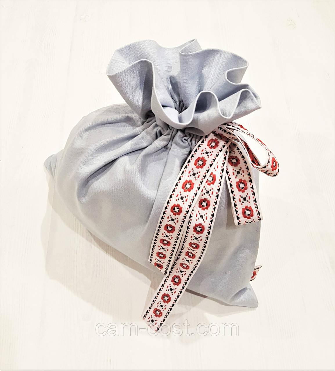Мешок для подарков большой льняной 34 х 33 см