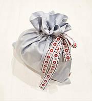 Мешок для подарков большой льняной 34 х 33 см, фото 1