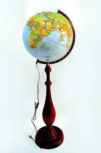 Глобус з підсвічуванням 420 мм Glowala на дерев'яній ніжці (BST 540159)