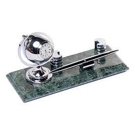 Настільна підставка для візиток під ручку з годинником 24х10см BST 540042 Мармурова