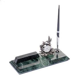 Візитниця настільна з годинником і ручкою мармурова 24х10 см BST 540045