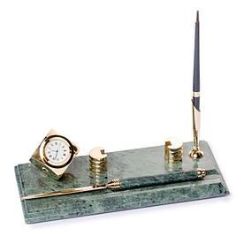 Настільна підставка візитниця з ножем для розкриття листів годинами і ручкою мармурова 24х10 см BST 540053