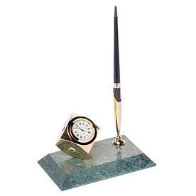 Підставка настільна з годинником для ручки мармурова 16х10 см BST 540017