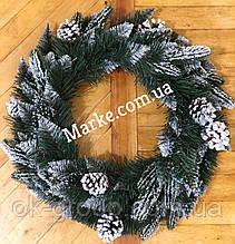 Венок рождественский новогодний из штучной хвои ПВХ+литые ветки+шишки