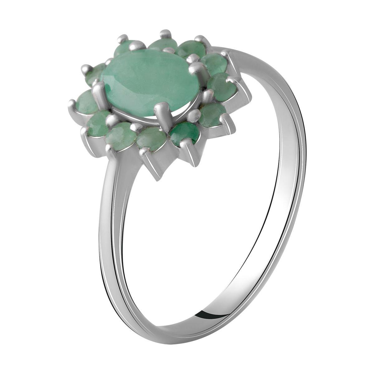 Серебряное кольцо DreamJewelry с натуральным изумрудом 1.123ct (1964804) 18 размер