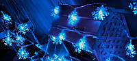 Новогодняя гирлянда снежинки 10 метров сний 100 Leds