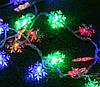 Новогодняя гирлянда снежинки 10 метров многоцветный 100 Leds