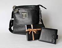 Мужской подарочный набор: сумка и кошелек Philipp Plein Black