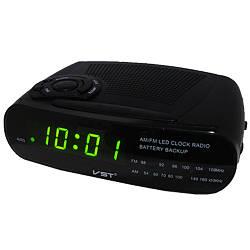 VST-906-2 сетевые часы, зеленые, радио FM, 220V