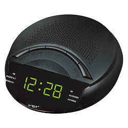 VST-903-2 сетевые часы зеленые, радио FM, 220V