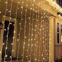 Уличная гирлянда водопад желтого свечения | Гирлянда штора Xmas  480  LED (3*2 метра), фото 3