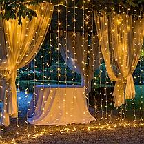 Уличная гирлянда водопад желтого свечения | Гирлянда штора Xmas  480  LED (3*2 метра), фото 2