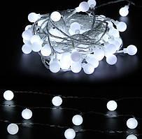 Новогодняя гирлянда 10 метров шарики 18мм белый IP44 ECOLEND