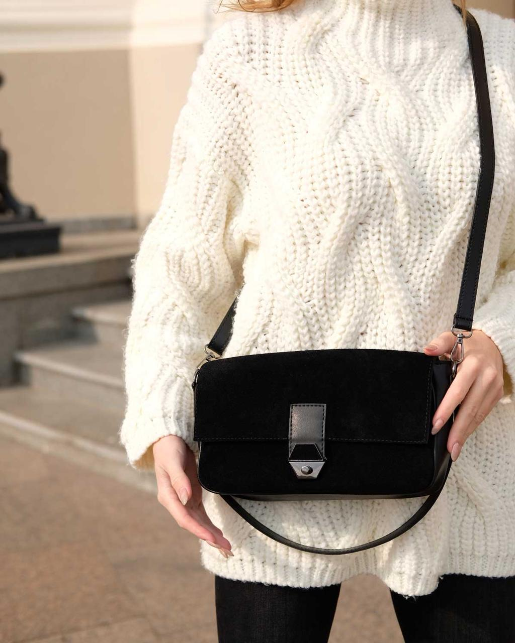 Женская черная сумка натуральный замш