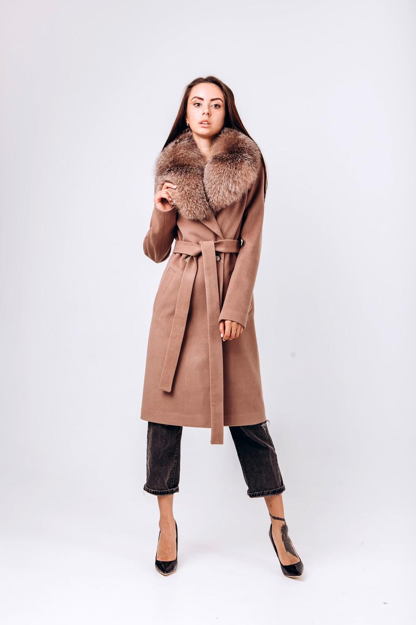 Зимнее пальто с мехом лисы бежевое O.Z.Z.E Д 378