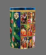 Новогодняя упаковка тубус из жести Рождественские мотивы на вес до 1200г, от 1 штуки