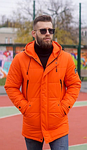 Мужская куртка пуховик Б-6 оранжевый зима 2021