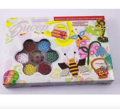Набор для плетения бисером Dankotoys.Детский набор бисера.Набор для детского творчества