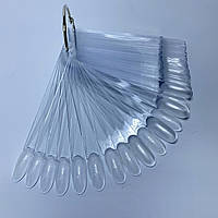 Палитра для гель-лаков на кольце миндальная форма 50 шт. прозрачный цвет.