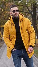 Мужская куртка пуховик Б-6 горчичный зима 2021