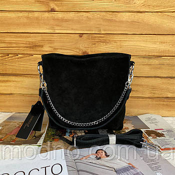 Женская замшевая сумка чёрная Farfalla Rosso