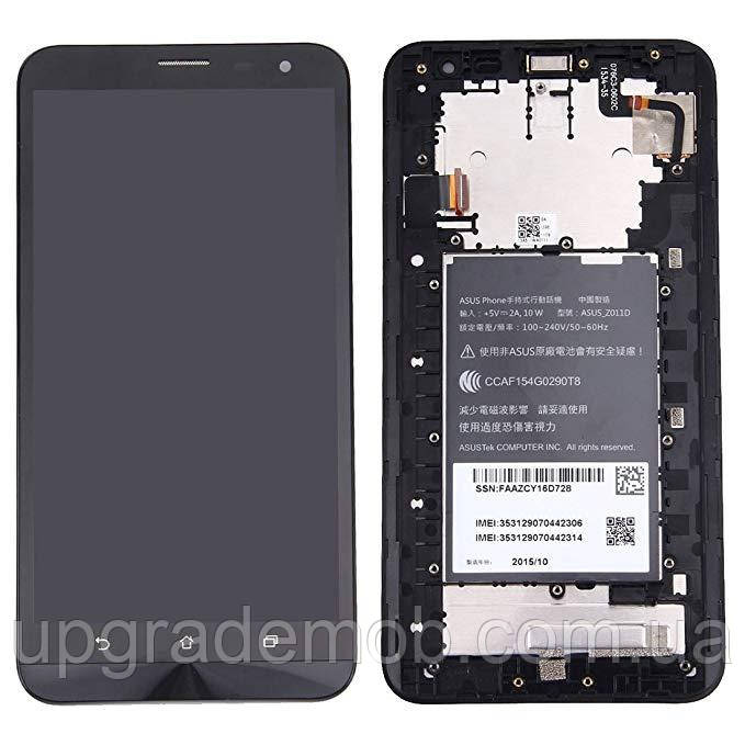 Дисплей Asus ZenFone 2 Laser ZE601KL тачскрин сенсор модуль, черный, в рамке, Glacier Gray