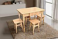 Комплект кухонный стол + 4 табурета (бук светлый) Микс мебель
