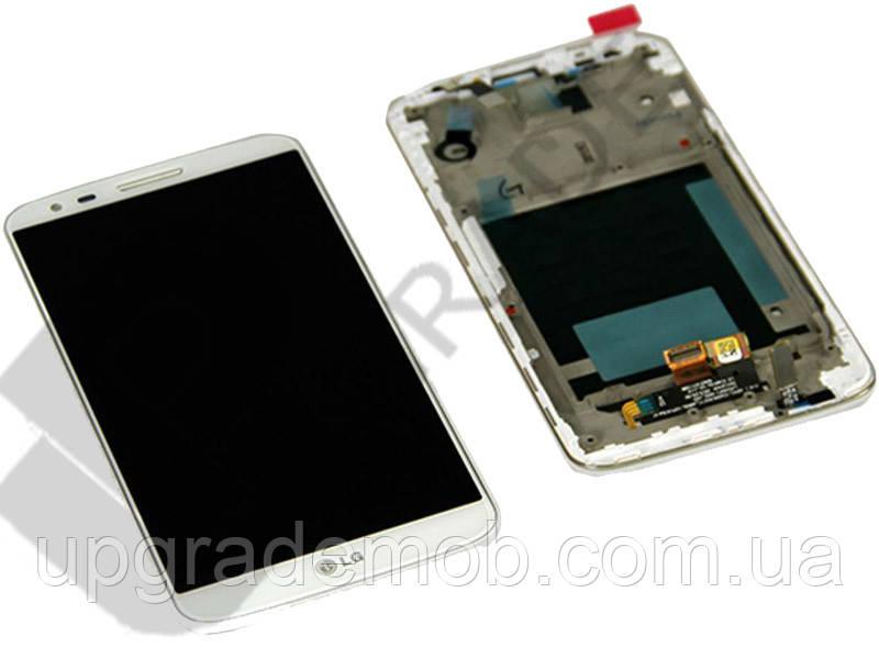Дисплей LG D802 G2/D805 тачскрин сенсор, белый, в рамке, оригинал , 20 pin
