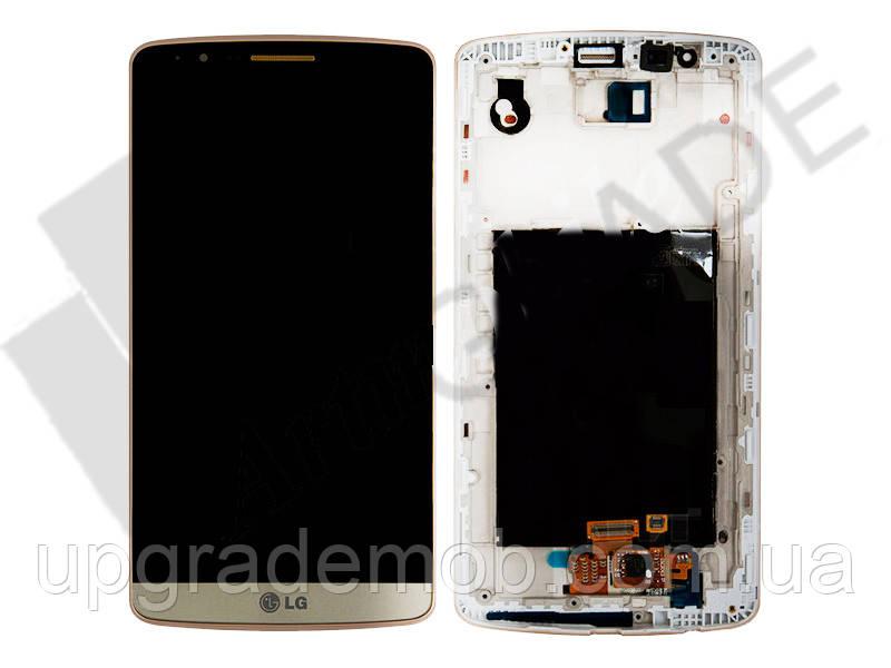 Дисплей LG D855 G3 с тачскрином модуль сенсор, золотистый, в рамке
