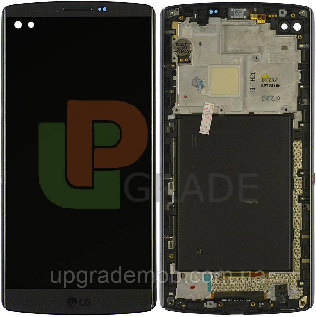Дисплей LG H900 V10/H901/H960A/H961/H962/H968/VS990 с тачскрином модуль сенсор, черный, в рамке, оригинал