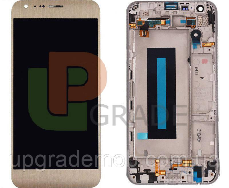 Дисплей LG K580 X Cam с тачскрином модуль сенсор, золотистый, в рамке