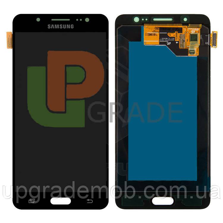 Дисплей Samsung J510H Galaxy J5 2016 тачскрин сенсор, черный, Amoled, оригинал , переклеено стекло