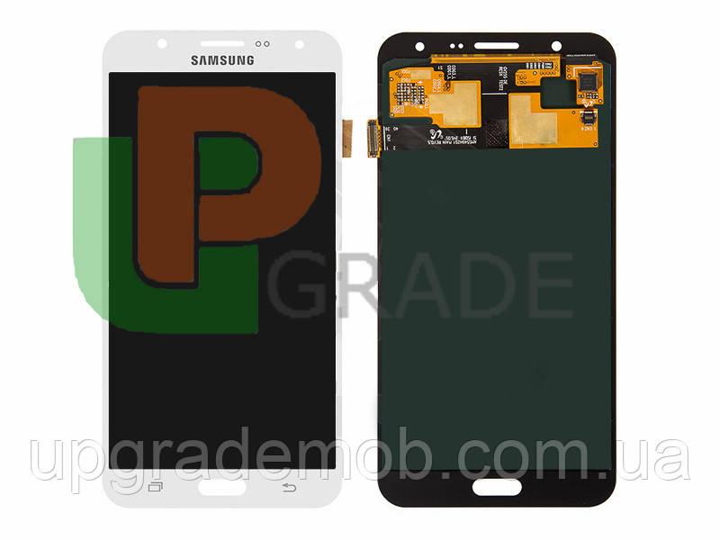 Дисплей Samsung J700H Galaxy J7 тачскрин сенсор модуль, белый, Amoled, оригинал , переклеено стекло